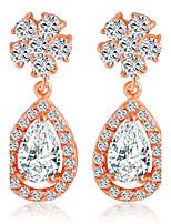 Zircon Crystal Snowflake Drops Earrings Bridal Diamond Hypoallergenic Jewelry