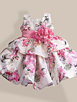 Girls  Fashion Pink Tutu Flower Print Belt Party Pageant Kids Clothing Dresses