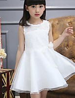 Girl's Party/Cocktail Jacquard Dress,Cotton Summer White