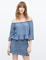 Women's Casual/Daily Sexy / Street chic Summer Blouse,Solid Boat Neck ½ Length Sleeve Blue Cotton Thin