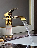 Centerset Single Handle One Hole in Ti-PVD Bathroom Sink Faucet Gold Finish Luxury