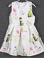 Girl's Casual/Daily Print Dress,Rayon Summer Pink / White