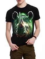 Men's Short Sleeve 3D T-Shirt , Cotton / Work / Sport Round collar Short Sleeve T-Shirts (Cotton/Knitwear)