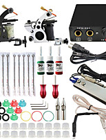 professionele en complete 2 pistool tattoo machine kit 3 stuks inkt voeding naald grips tips