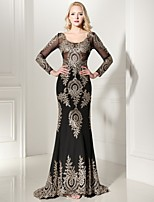 Formal Evening Dress-Ruby /Black Trumpet/Mermaid V-neck Sweep/Brush Train