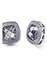 Fashion New Marriage Square Shape Platinum plated 3 colors Cubic zircon Pave setting Stud earrings for women