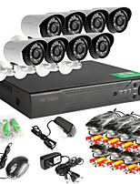 8CH 960H Network DVR  8PCS AHD Outdoor CCTV Security Cameras System