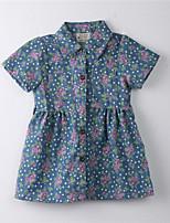 Robe Fille de Fleur Coton Eté Bleu
