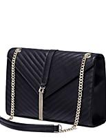 NUCELLE Women Real Genuine Cowhide Leather Purse Shoulder Hand Bag Messenger Metallic Chain Tassel-Black