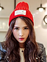 Unisex Knitwear Casual Solid Color Patch Knit Wool Couple Cap