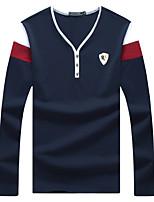 Tee-Shirt Pour des hommes Mosaïque Décontracté / Grandes Tailles Manches longues Coton / Spandex Noir / Bleu / Blanc