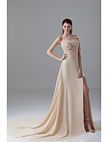 Formal Evening Dress A-line Sweetheart Court Train Chiffon with Beading / Split Front / Pleats