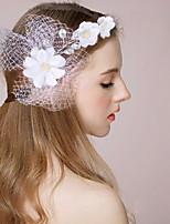 נשים / נערת פרחים סאטן / דמוי פנינה כיסוי ראש-חתונה / אירוע מיוחד סרטי ראש / פרחים / זרי פרחים / Birdcage Veils חלק 1