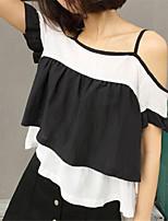 Women's Striped Black T-shirt,Strap Short Sleeve