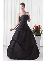 Formal Evening Dress A-line Strapless Floor-length Taffeta with Pleats