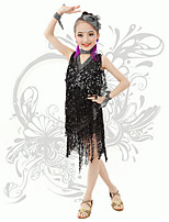 Latin Dance Children's Performance Spandex Sequins / Tassel(s) V Neck Irregular Dresses