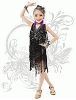 Latin Dance Children's Performance Spandex Sequins / Tassel(s) V Neck Irregular Dresses