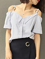 Women's Striped White T-shirt,Strap Short Sleeve