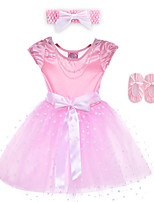 Performance Dresses Children's Performance Spandex / Polyester Bow(s) 2 Pieces Pink Performance Sleeveless Dress / Headpieces