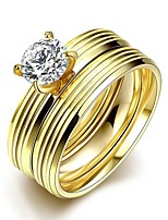 lureme® Golden Plated Stainless Steel with Circle Carved Big Zircon Ring
