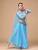 Belly Dance Outfits Women's Performance Chiffon Transparent Sleeve Sequins 4 Pieces Dance Costumes