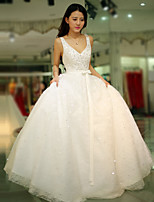 Princess Wedding Dress Floor-length Straps Tulle with Beading