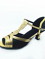 Chaussures de danse(Noir) -Personnalisables-Talon Bobine-Similicuir-Latine