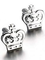 Men's Fashion Crown Silver Alloy French Shirt Cufflinks (1-Pair)