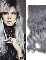 20 pulgadas 5 clips en la extensión del pelo sintético de la onda del cuerpo gris de la abuelita