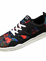 Men's Shoes PU Casual Fashion Sneakers Casual Flat Heel Black / Red / White