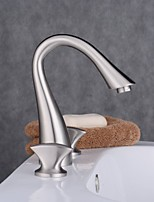 Widespread Three Holes Double Knobs Gooseneck Bathroom Faucet Brushed Nickel