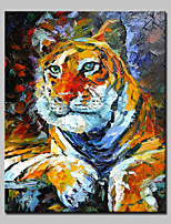 Large Hand-Painted Animal Tiger King Modern Oil Painting On Canvas One Panel With Frame Ready To Hang 100x140cm