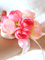 Bouquets de Noiva Redondo Rosas Buquê de Pulso Casamento / Festa / noite Rosa / Vermelho / Roxo / Champagne / BorgonhaCetim / Algodão /