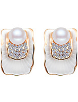 South Korea Full Diamond Pearl Lotus Leaf Earrings