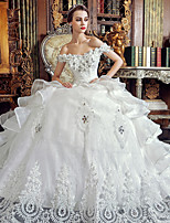 A-line Wedding Dress Floor-length Off-the-shoulder Organza with Appliques / Beading / Crystal