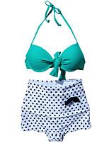 Venus queen Women's Halter Bikini,Retro / Dot Nylon / Spandex Green