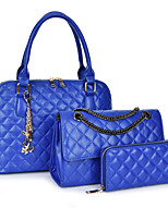 Women Bag Sets PU All Seasons Event/Party Shell Zipper Black White Gold Blue