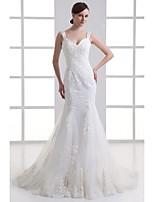 שמלת כלה -בתולת ים\חצוצרה שובל קורט-מחשוף לב-אורגנזה / סאטן