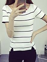 Women's Striped Pink / White / Black Pullover,Street chic Short Sleeve