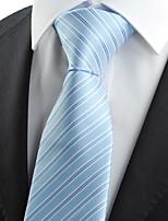 KissTies Men's Light Blue Striped Necktie Business Work Casual Tie With Gift Box