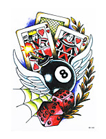 8PCS Decal Waterproof Fake Temporary Tattoo Body Arm Back Art Wing Dice Poker Design Tattoo Sticker for Women Men