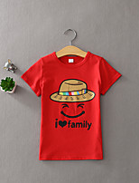 Girl's Casual/Daily Print Tee / Clothing Set,Cotton Summer Black / Green / Pink / Red / White