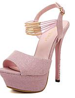 Sandalen-Büro Kleid Party & Festivität-Kunststoff-Stöckelabsatz-Club-Schuhe-Rosa Dunkel Grau
