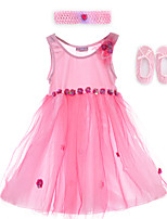 Performance Dresses Children's Performance Spandex / Polyester Flower(s) 2 Pieces Pink Performance Sleeveless