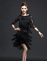 Latin Dance Women's Performance Chinlon / Nylon Lace / Tassel(s) Outfits with Earrings Dance Costumes
