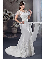 Trumpet / Mermaid Wedding Dress Court Train Strapless Organza / Satin with Appliques / Beading / Draped / Ruche