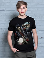 Hot Sales Stylish Men 3D Animal Print Skull and Motorcycle Crew Neck Top Tee T-Shirt