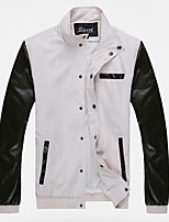 Men's Long Sleeve Jacket,Cotton / Acrylic / Polyester Casual Solid / Patchwork 916178