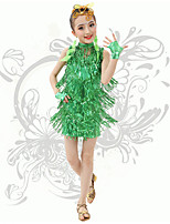 Latin Dance Children's Performance Spandex V Neck Sequins / Tassel(s) Dresses