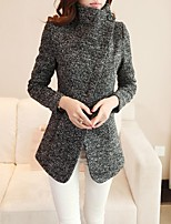 Women's Casual/Daily Simple Coat,Solid Shirt Collar Long Sleeve Winter Black Wool Thick